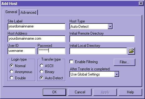 CuteFTP - General Settings - Name, host address, username and password